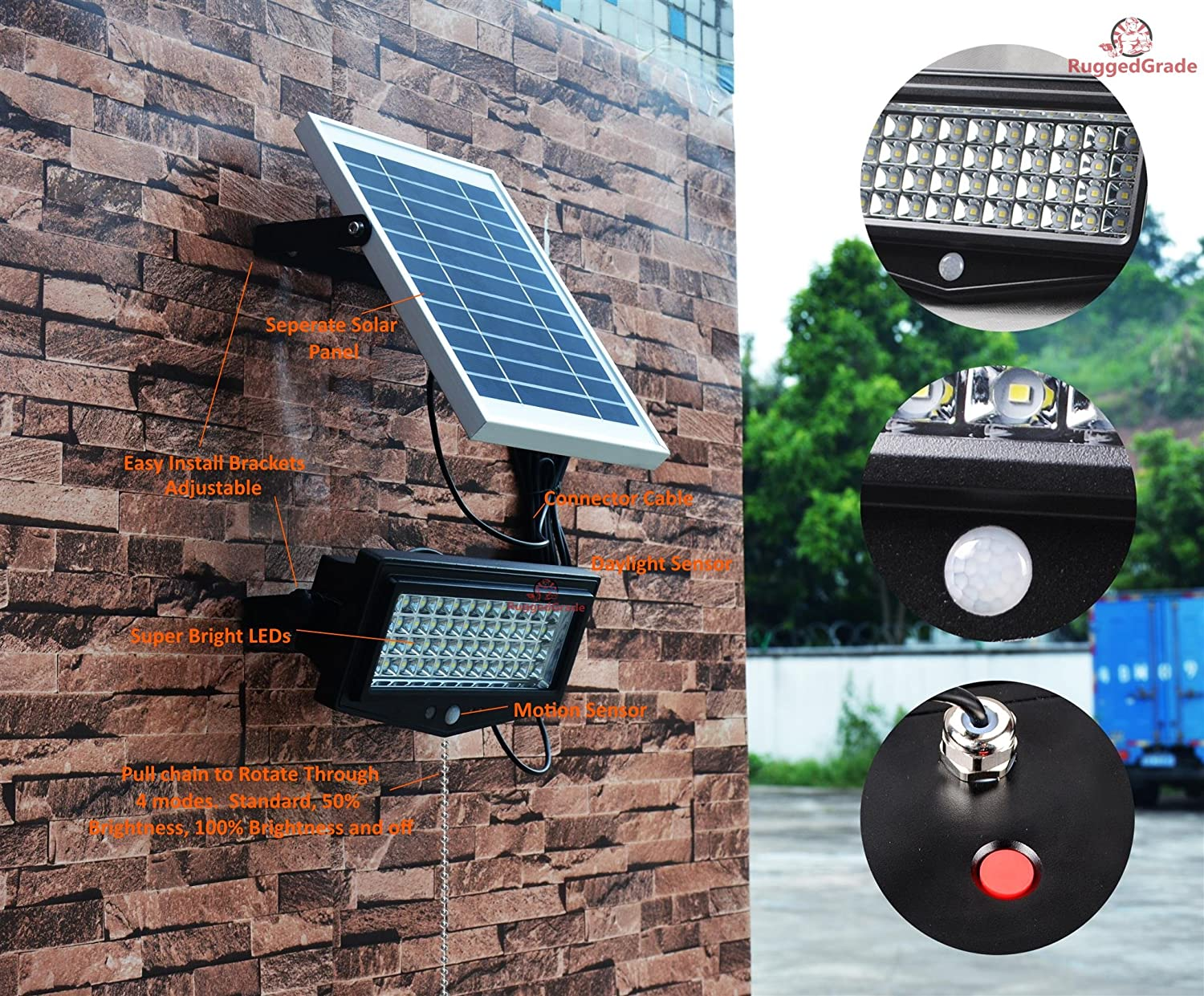 High Power 1000lumen Solar Motion Led Flood Light 10 Watts Of Wiring A Pir Commercial Grade Adjustable Mount Floodlight