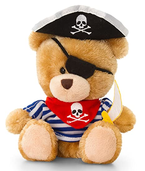 Peluche Pirate, ours en peluche, bonnet, épée et cache-œil Bandana,