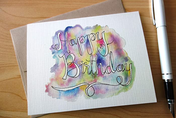Amazon Colorful Birthday Card Watercolor Water