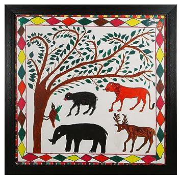 Haridas Pithora paintings Canvas Wild Life Painting (68 cm x 4 cm x 68 cm)