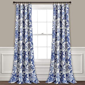 "Lush Decor Navy White Sydney Curtains | Floral Garden Room Darkening Window Panel Set for Living, Dining, Bedroom (Pair), 84"" Long x 52"" Wide, L"
