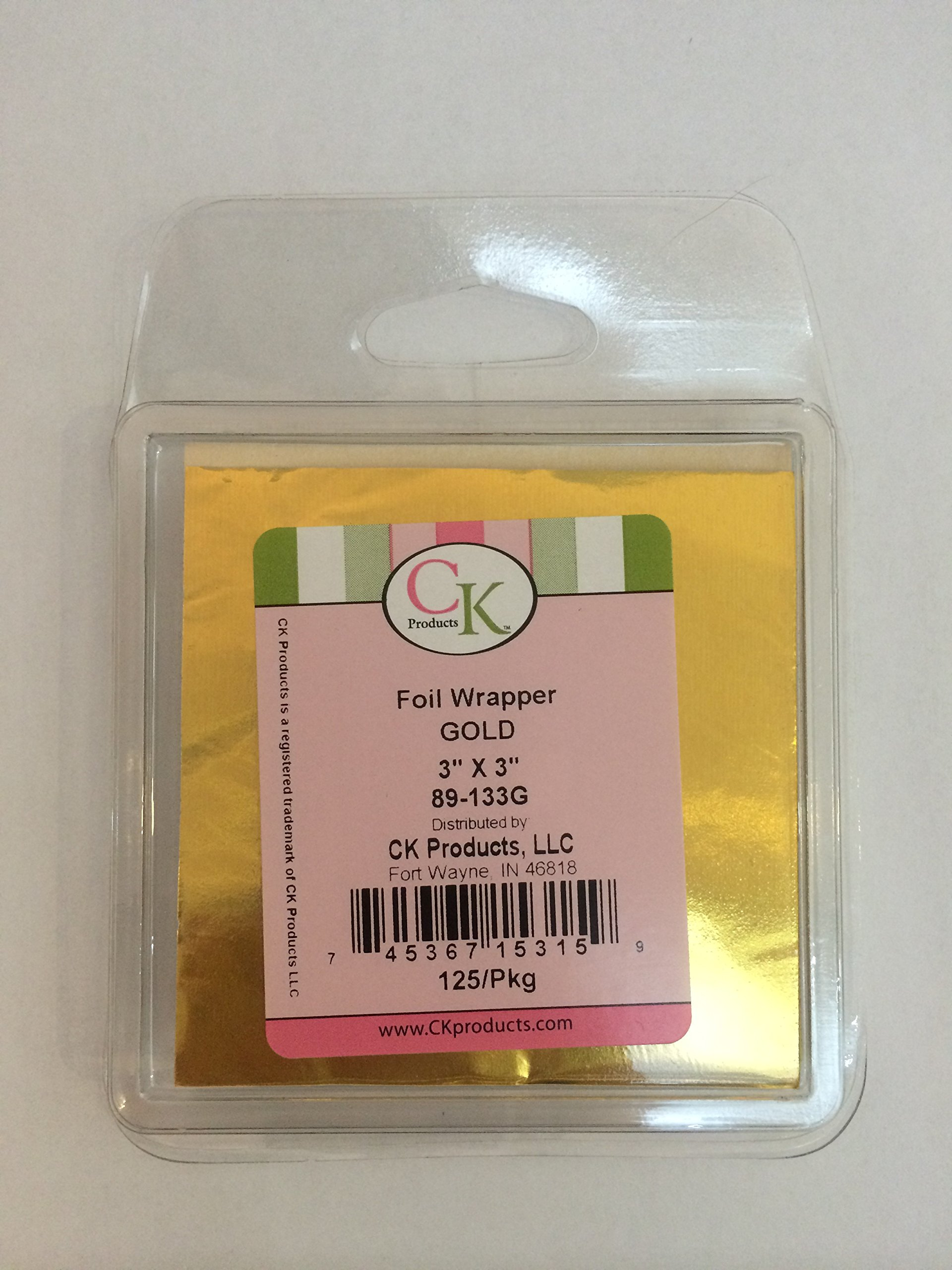 Gold foil wrapper, 3'' X 3'' , 125/Pkg perfect for chocolate, sweet wrapping