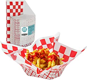 [125 Sheets and 125 Trays] Red and White Checkered 12x12 Inch Deli Sheet Sandwich Wrap Paper Basket Liner and 2 lb Paper Food Tray - Grease Resistant for Burger Fries Nachos Hotdog Chicken Chips