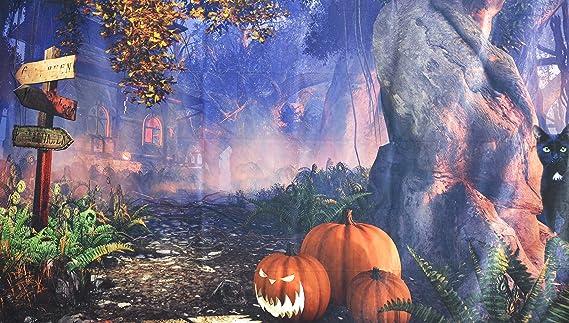 Zhy KateHome PHOTOSTUDIOS 2.1x1.5m Halloween Photo Bcakrop Halloween Pumpkin Tombstone Background for Horror Halloween Theme Decoration
