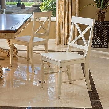 Amazoncom Set of 2 Leyden Antique White Wood Dining Chair