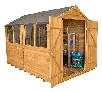 Forest ODA810DDHD - Cobertizo de doble puerta con tratamiento de punta, 10 x 8 m, color dorado: Amazon.es: Jardín