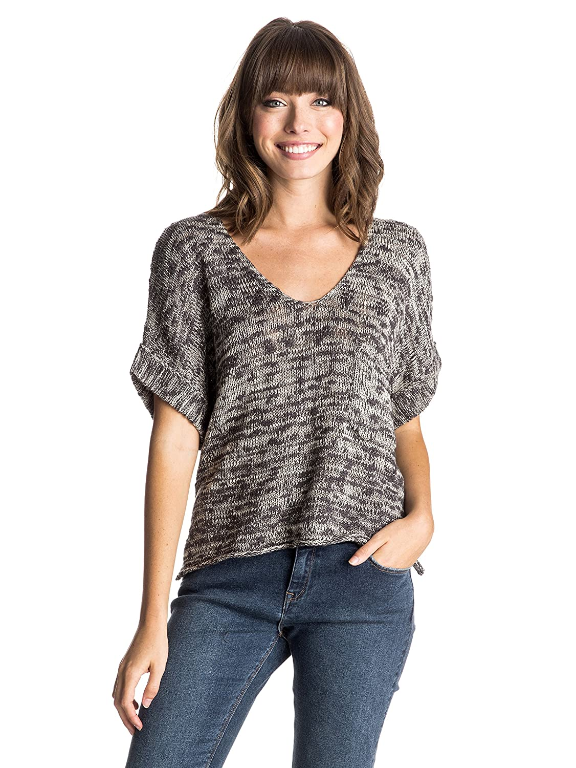 Roxy Lovely J SWTR KRY0 - Camiseta para mujer, color gris