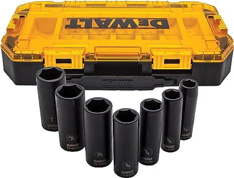 DeWalt dwmt74736 rígida caja 7 piezas SAE 1/2 unidad de vaso de impacto profundo (8 unidades: Amazon.es: Bricolaje y herramientas