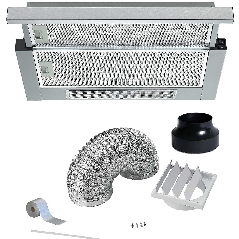 Cookology Integrated 60cm Telescopic Cooker hood TEL605SS | Twin Motor & Duct TEL605SS DK1M120