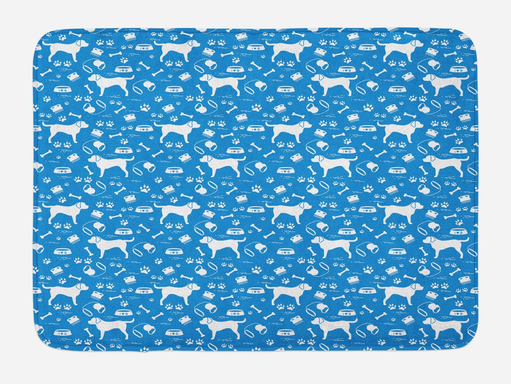 Lunarable Rottweiler Bath Mat, Pets Theme with Bone Paws Leash Food Bowl Collar Brush Cute Animal Design, Plush Bathroom Decor Mat with Non Slip Backing, 29.5 W X 17.5 W Inches, Blue and White