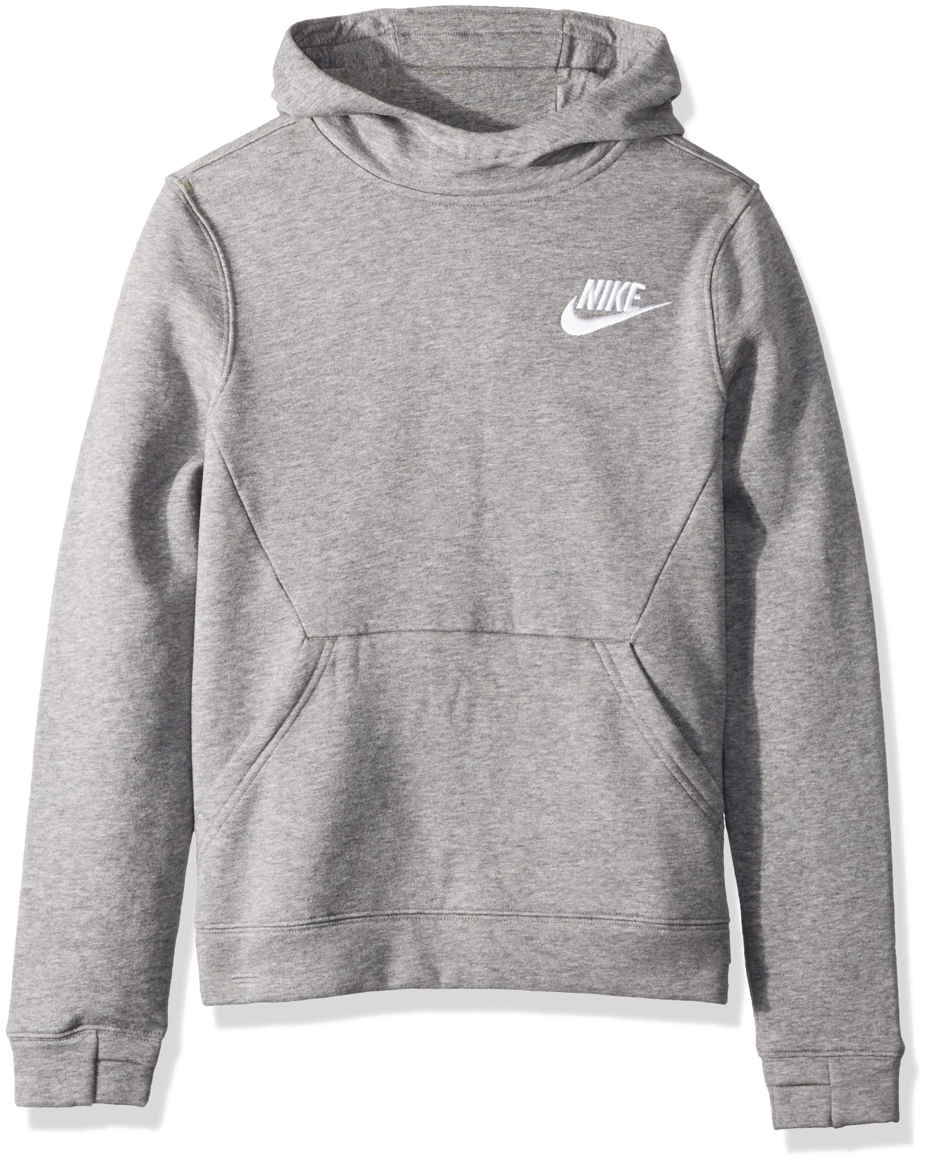 NIKE Sportswear Boys' Club Pullover Hoodie, Carbon Heather/Carbon Heather/White, X-Large