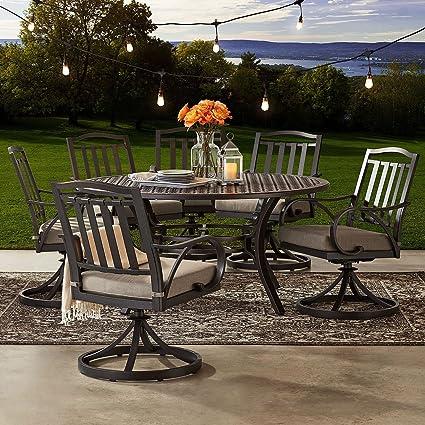 Beau Cast Aluminum 60u0026quot; Round Table 7pc Outdoor Dining Set W/ SUNBRELLA  Cushions