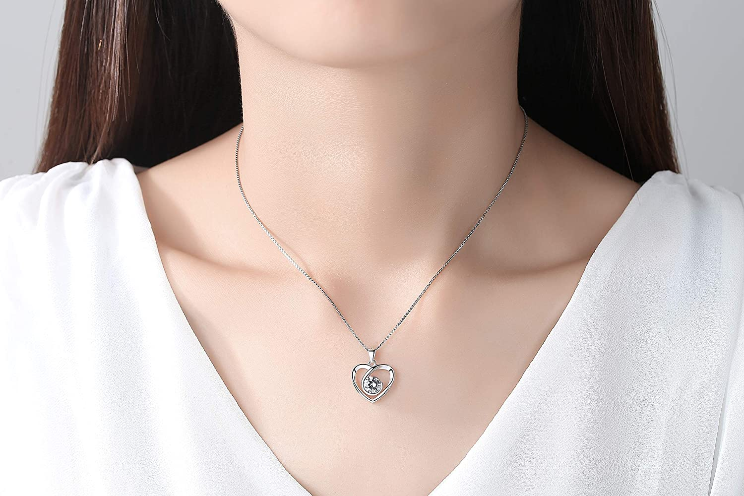 NOOYAH 925 Sterling Silver Love Heart Pendant Necklace Gift for Women Girls Mom,Crystals Cubic Zirconia Necklaces Anniversary Birthday Gifts for Her