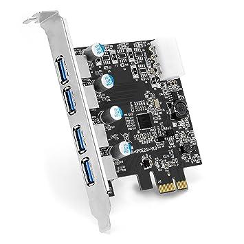 CSL - Tarjeta controladora USB 3.0 Super Speed de 4 Puertos PCIe Express - Tarjeta de eXPansión USB 3.0 - Nuevo Modelo nuevos Controladores - ...