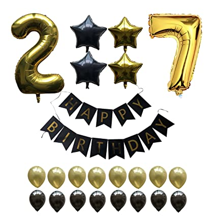 27th Birthday Party Balloons Kit 27 Year Old Bday Gold Number 2 7