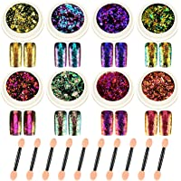 8 Boxes Glitter Chameleon Nail Flakes Iridescent Chameleon Nail Powder Holographic Laser Colorful Nail Sequins with 8…