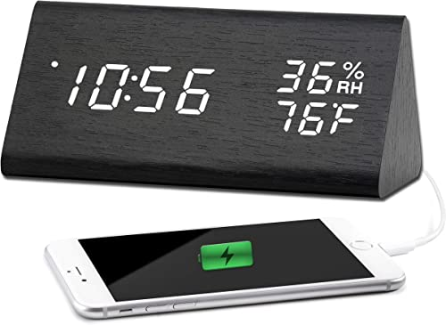 Desk Clock with USB Charger, Modern Sleek Wooden Texture Design – Digital White LED with Date, Temperature, Humidity and Backup Battery – Desktop Clock for Your Office and Home