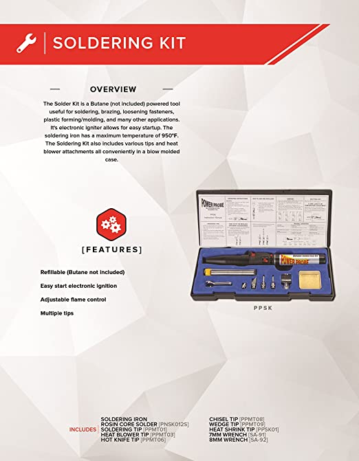 Automotive Diagnostic Car Test Tool, Easy Start Electronic Ignition, Adjustable Flame, with Multiple Tips PPSK POWER PROBE Butane Soldering Kit