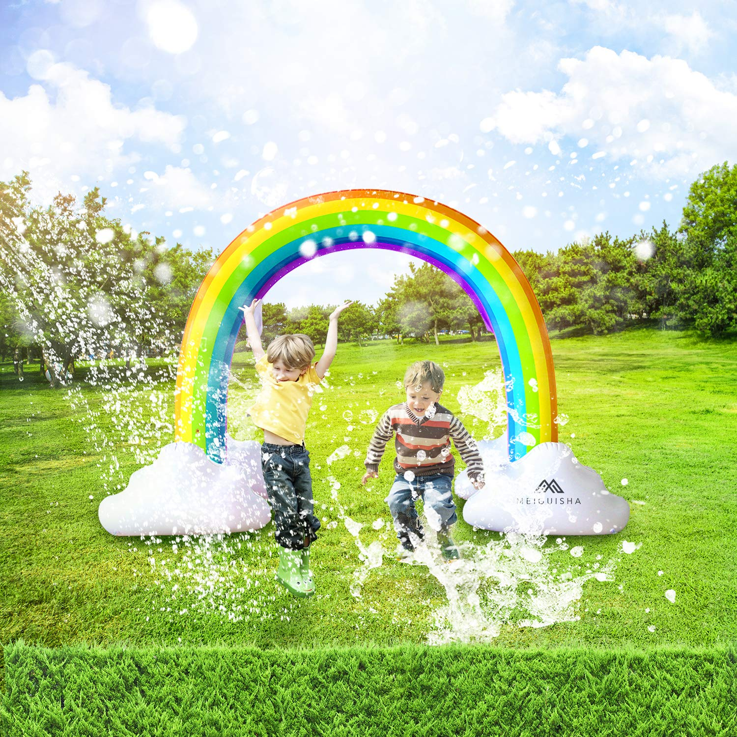 MeiGuiSha Inflatable Rainbow Yard Summer Sprinkler Toy, Over 6 Feet Long, Perfect for Summer Toy List by MeiGuiSha (Image #2)
