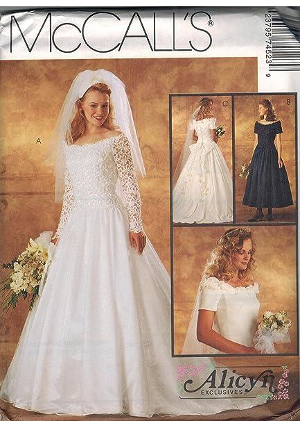 Amazon Com 7452 Mccalls Sewing Pattern Uncut Misses Wedding Dress
