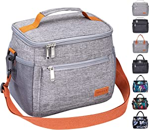 TOMULE Insulated Lunch Bag Reusable Cooler Tote Bag, Soft Freezable Lunch Box Holder, Durable Portable Leakproof Thermal Lunch Container for Women Men Kid Office Work School Picnic Travel Beach, GRAY