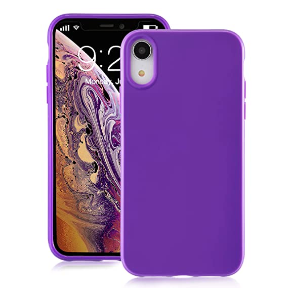 more photos a68ed 274aa for iPhone XR Purple Case, technext020 Shockproof Ultra Slim Fit Silicone  iPhone 10R Cover TPU Soft Gel Rubber Cover Shock Resistance Protective Back  ...
