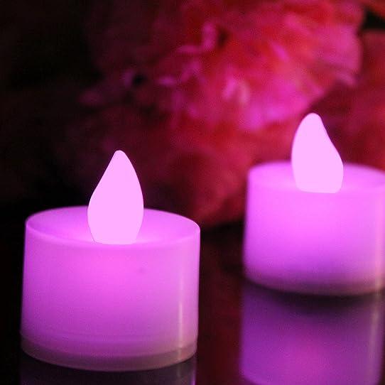 12 Bougies Roses Led Chauffe Plat À Piles Avec Flamme Vacillante