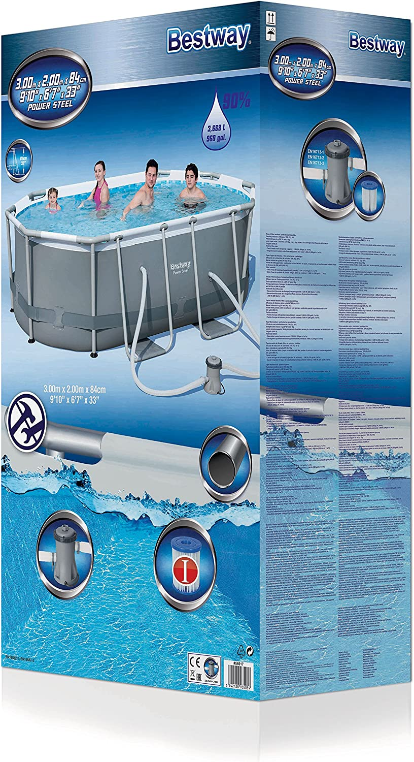 Bestway 56617 Piscina Power Steel Oval, 3.668 Liters, M: Amazon.es ...