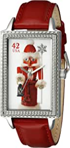 """The P.S. Collection by Arjang and Co. Women's HY-4020S-RD""""Nutcracker Santa"""" Enamel Dial Red Leather Strap Watch"""