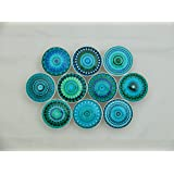 Set of 10 Turquoise Mandala Cabinet Knobs