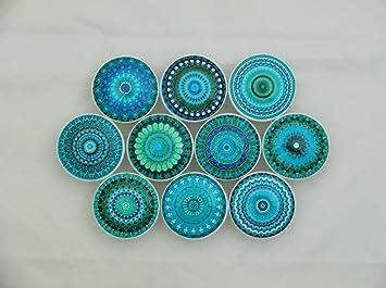 Set Of 10 Turquoise Mandala Cabinet Knobs