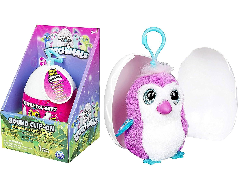 Hatchimals huevo suave peluche clip con sonidos carácter de misterio
