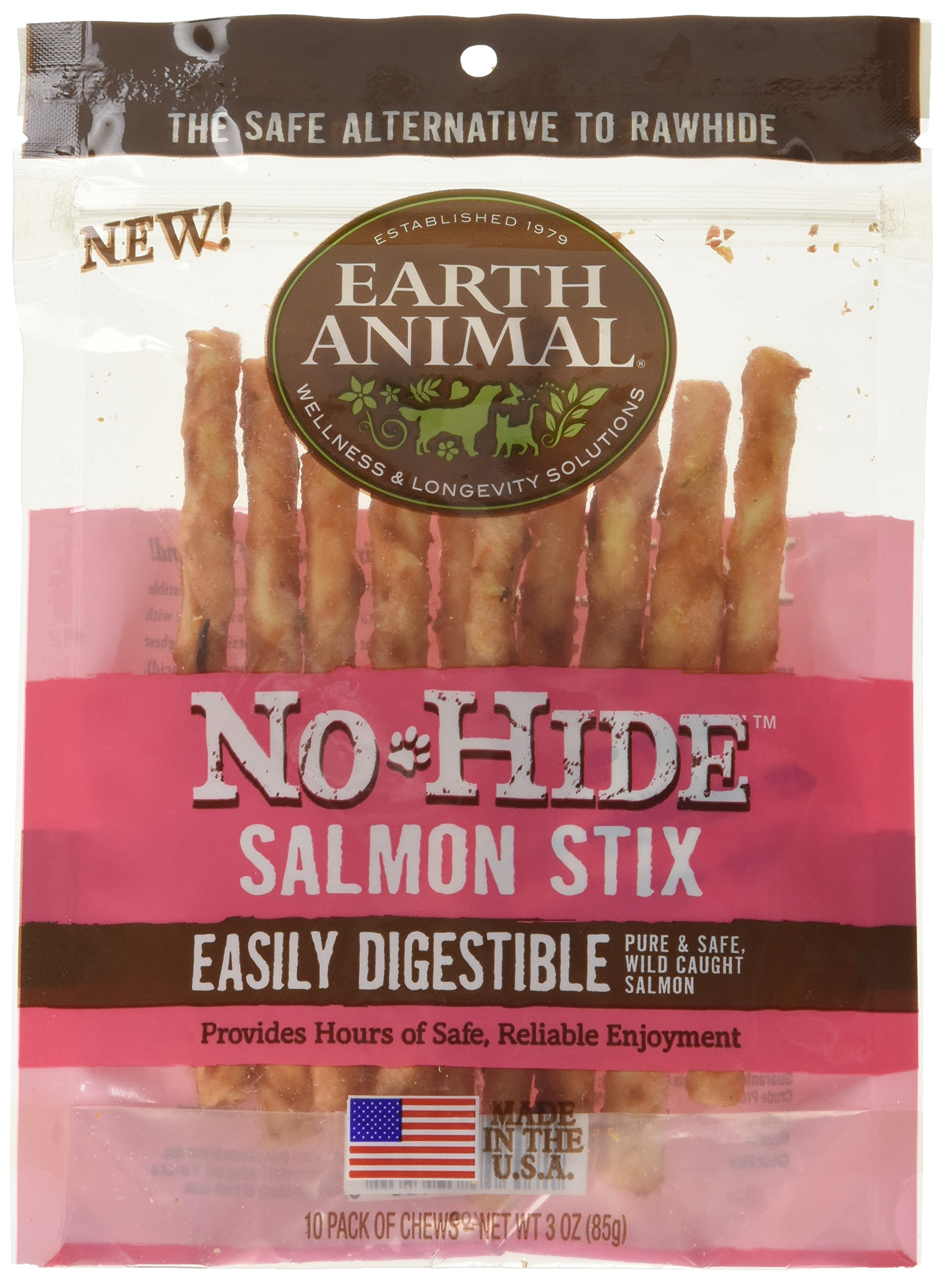 30 Count - Earth Animal No-Hide Salmon Stix (3 Packages with 10 Stix Each)