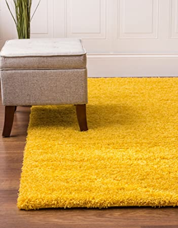 Yellow Shag Rug 4 Feet By 6 4x6 Solid Thick