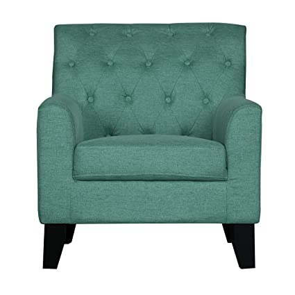Transitional Button Tufted Back Accent Chair Green
