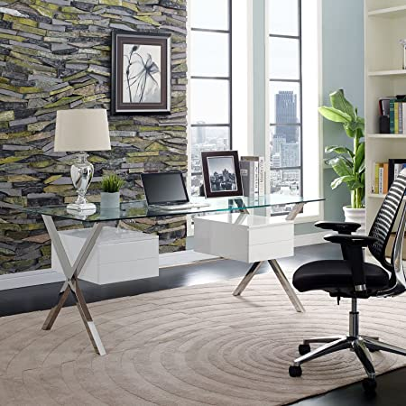 Modway Abeyance Contemporary Modern Glass-Top Office Desk in White