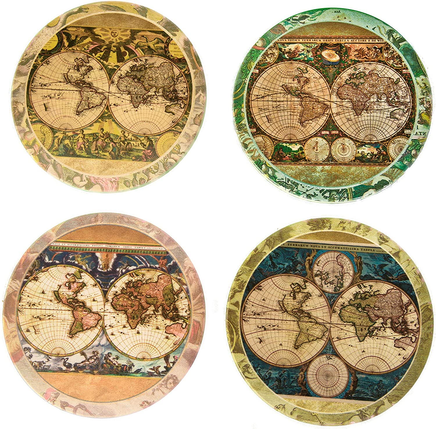 Amazon Com Coasterstone Absorbent Stone Coasters Vintage Old World Maps Multicolored Coasterstone Coasters Coasters