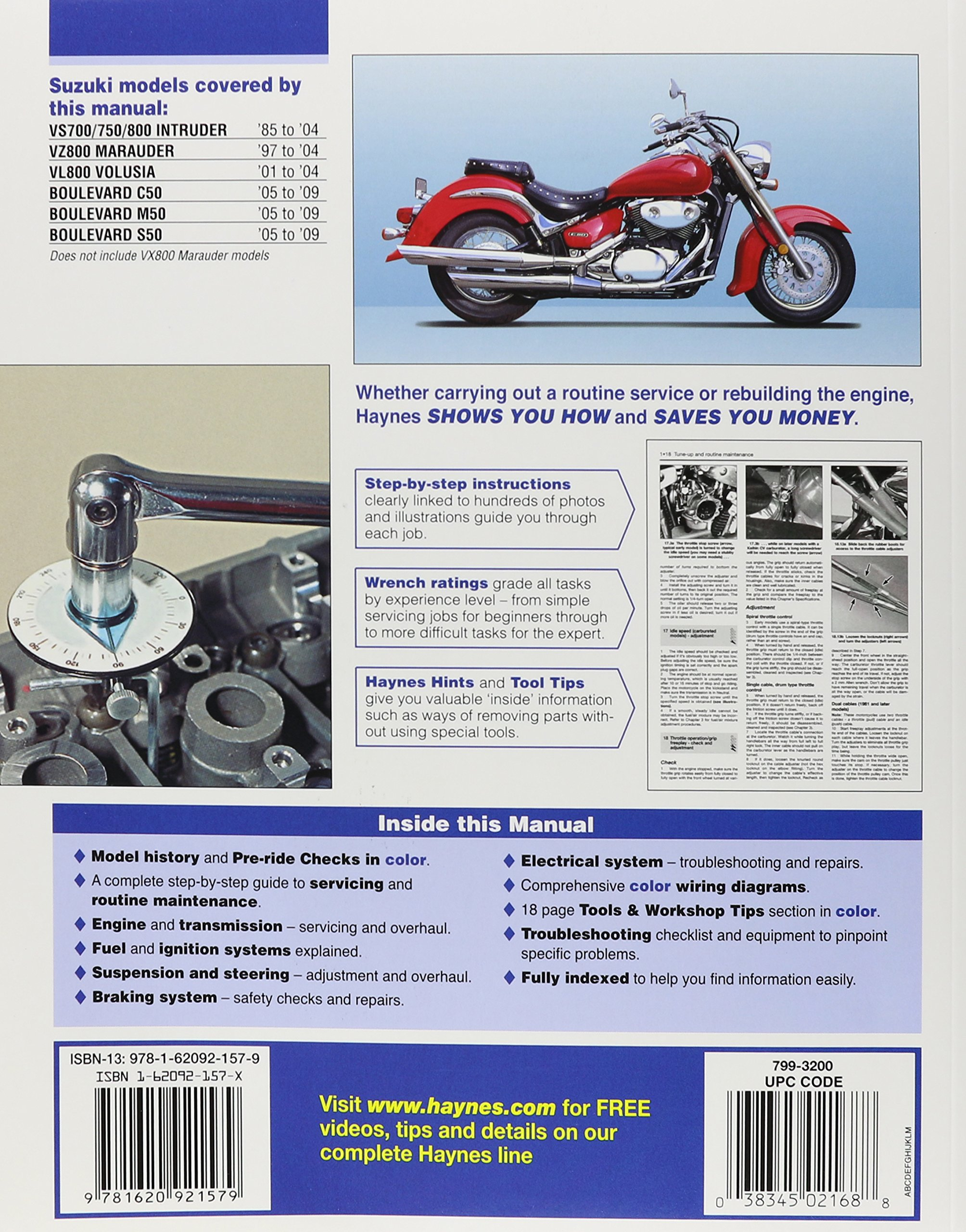Suzuki Intruder, Marauder, Volusia and Boulevard '85 to '09 (Haynes Service  & Repair Manual): Editors of Haynes Manuals: 9781620921579: Amazon.com:  Books