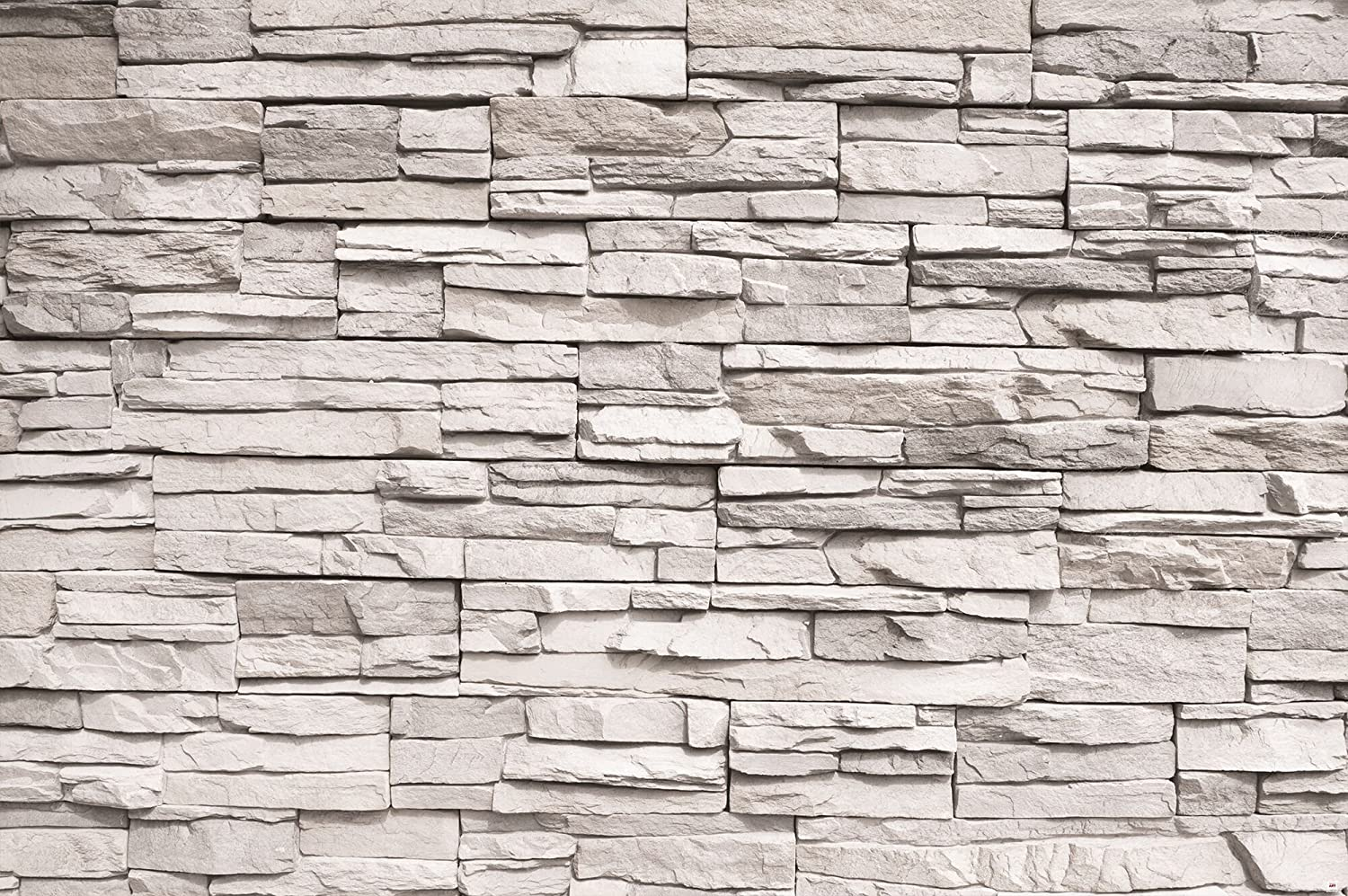 GREAT ART Wallpaper White Stonewall – Wall Decoration Slate Beige Stones 3D Optic Poster Stone Poster Paneling Rock Easy DYI (82.7x55 Inch)