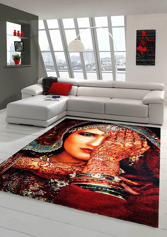 Moderner Teppich Designer Teppich Orientteppich Wohnzimmer Teppich Frau mit Henna Hand Tattoo in Rot Schwarz Türkis Orange Bunt Größe 120x170 cm