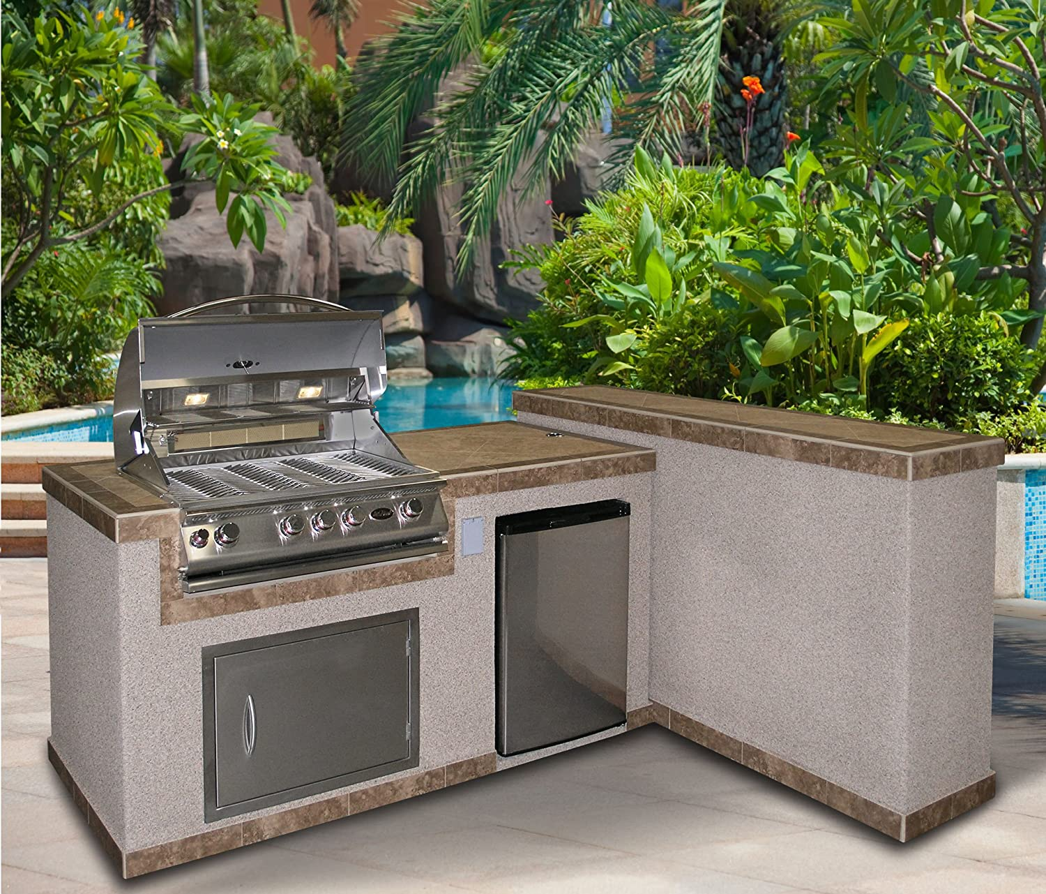 Cal Flame 6\' Outdoor Kitchen Island 2 Piece e6026 4-Burner Built in Grill,  27\