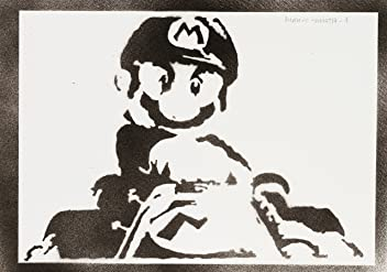 Super Mario Poster Handmade Graffiti Street Art - Artwork