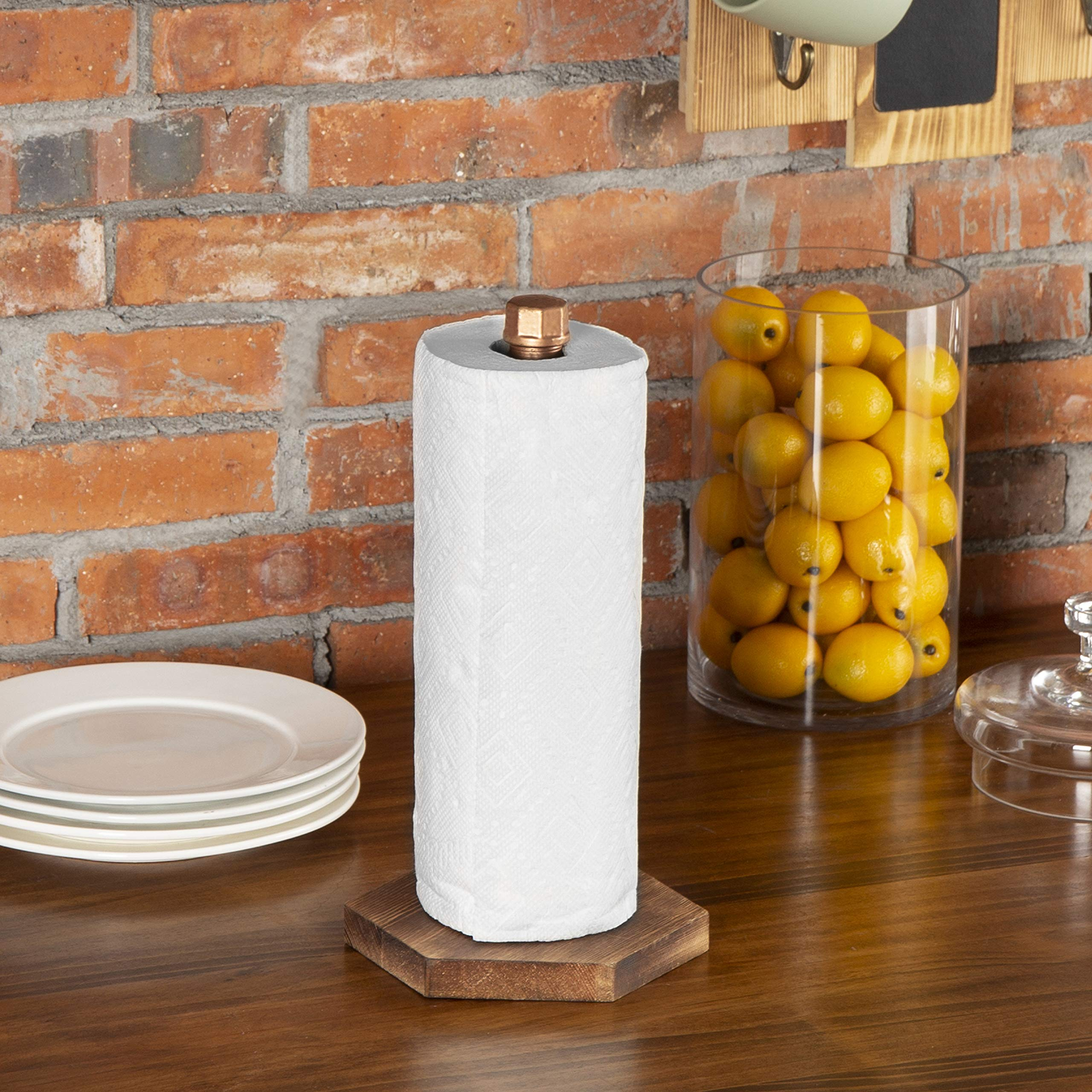 MyGift Industrial Copper-Tone Pipe & Burnt Wood Countertop Paper Towel Holder by MyGift (Image #2)