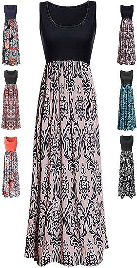 7d7eaf61ba2c1 LIYOHON Womens Summer Striped Print Loose Maxi Dress Contrast Sleeveless  Tank Top Floral Print Long Maxi Dresses for Women