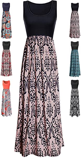 Liyohon Womens Summer Striped Print Loose Maxi Dress Contrast Sleeveless Tank Top Floral Print Long Maxi Dresses For Women by Liyohon