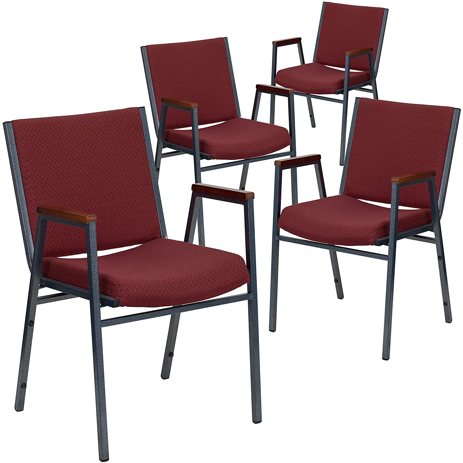 Flash Furniture 4 Pk. HERCULES Series Heavy Duty Burgundy Patterned Fabric Stack Chair with Arms