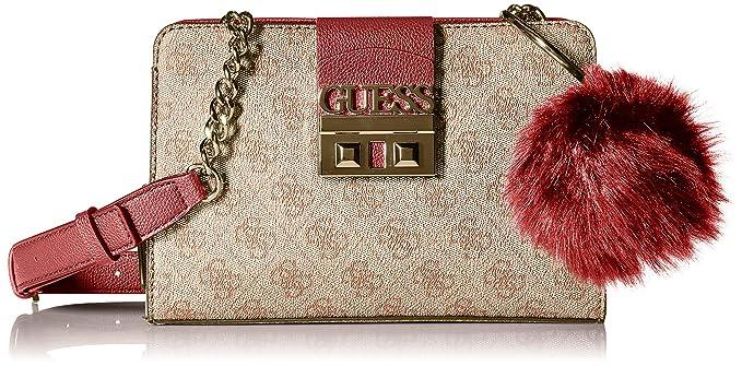 Amazon.com  GUESS Logo Luxe Crossbody Girlfriend, Brown, One Size  Clothing 7197e7fb0e