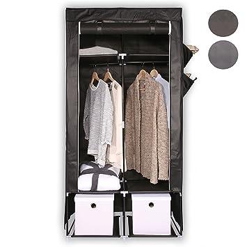 TRESKO® Stoffschrank 173 x 86 x 45 cm Faltschrank Kleiderschrank Textilschrank Campingschrank Garderobenschrank, mit 2 Kleide