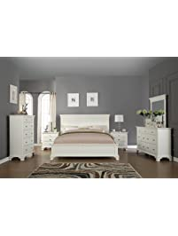 roundhill furniture white bedroom furniture set includes bed dresser mirror 2 night stands and chest - Bedroom Furniture White