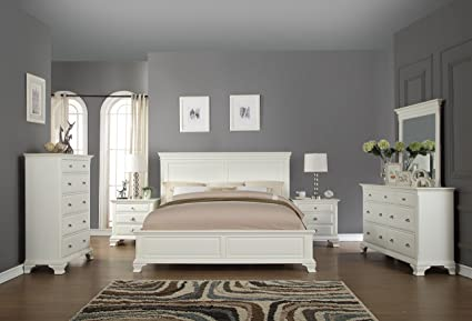 Roundhill Furniture White Bedroom Furniture Set Includes Bed Dresser Mirror  2 Night Stands And Chest,